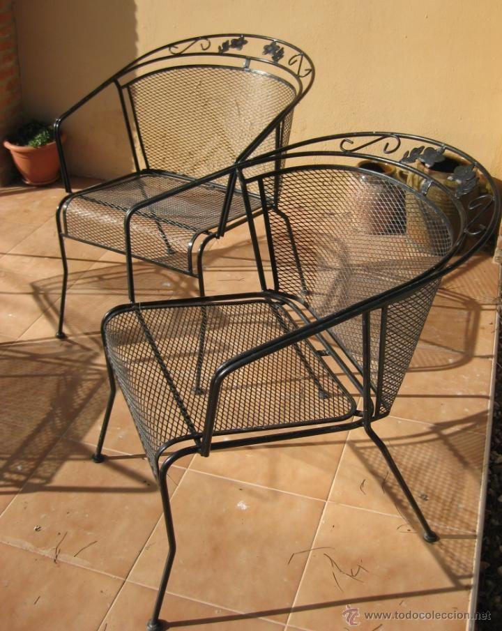 Vintage: lote 4 sillas hierro forja jardin en negro aÑos 70 silla ...