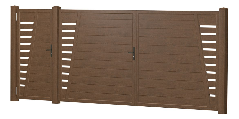 Privacy screen courtyard gate-door combination plastic – walnut |  T …