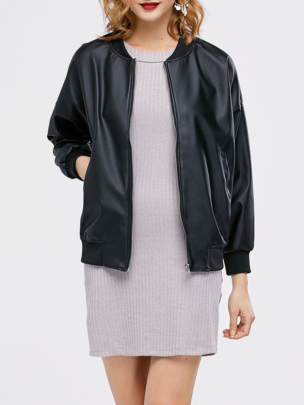 Zipped PU Leather Bomber Jacket Women outerwear jacket