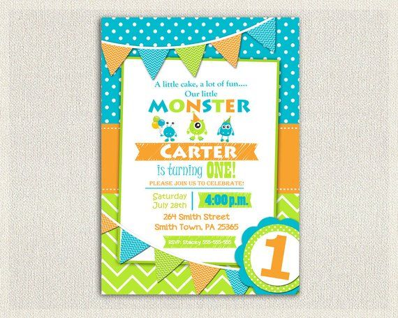 First Birthday Invitation Boys Monster 1st Birthday Boys Monster