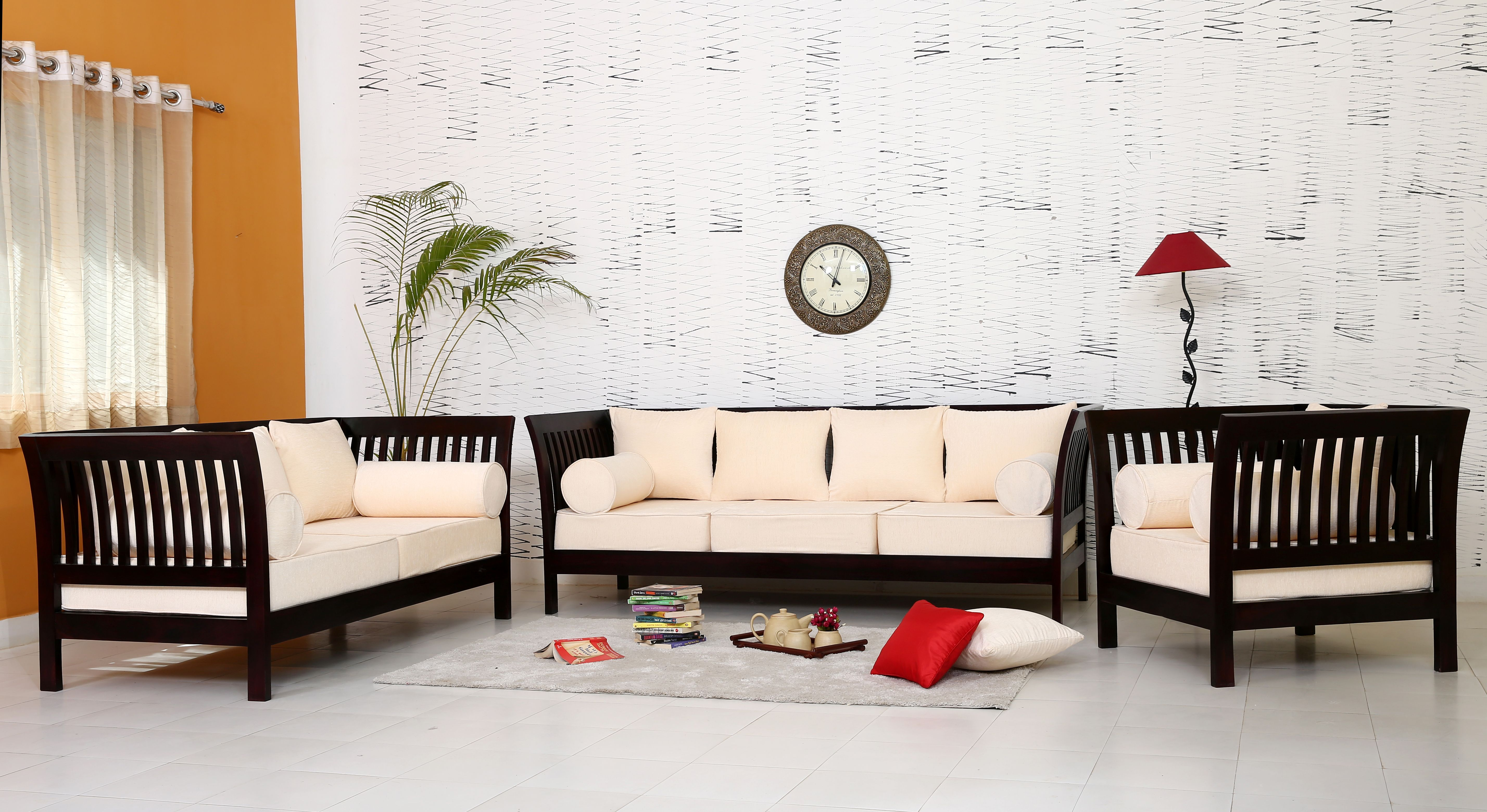 Furnish Your Living Space With Solid Wood Traditional Sofa Set