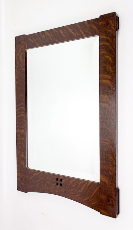 Arts and Crafts through mortise and tenon mirror frame in quarter ...