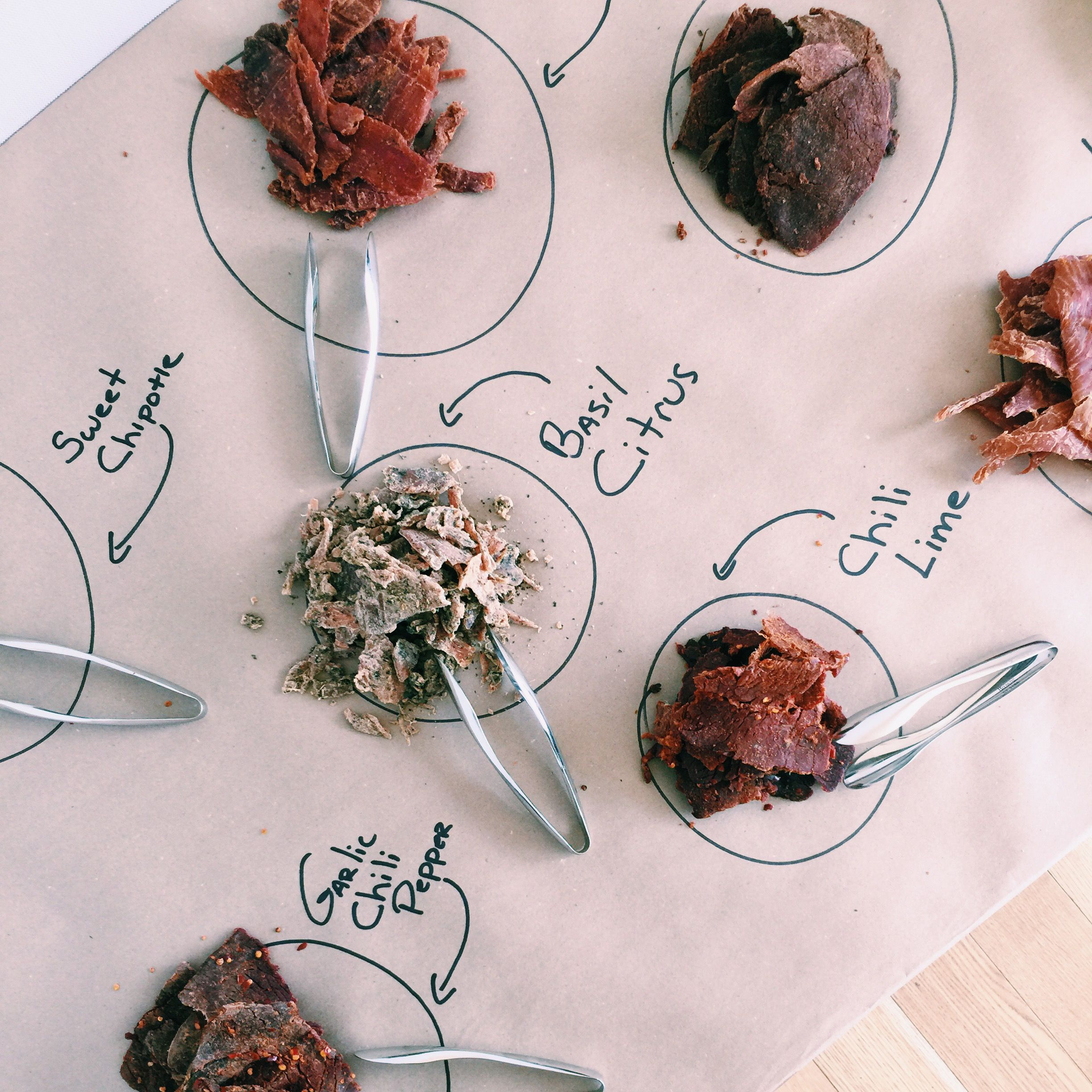 At #GrandHyattSF, we always find creative and fun ways to display our food. Lay out a large piece of parchment paper and put different appetizers on it.  Hand write the name of each dish with black marker.  Try it for your next house party this summer!