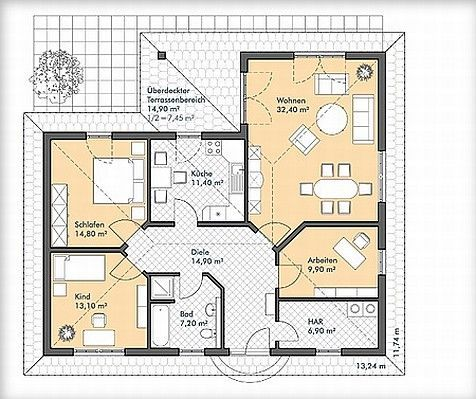 bildergebnis f r grundrisse winkelbungalow 100 qm living pinterest bungalow and house. Black Bedroom Furniture Sets. Home Design Ideas