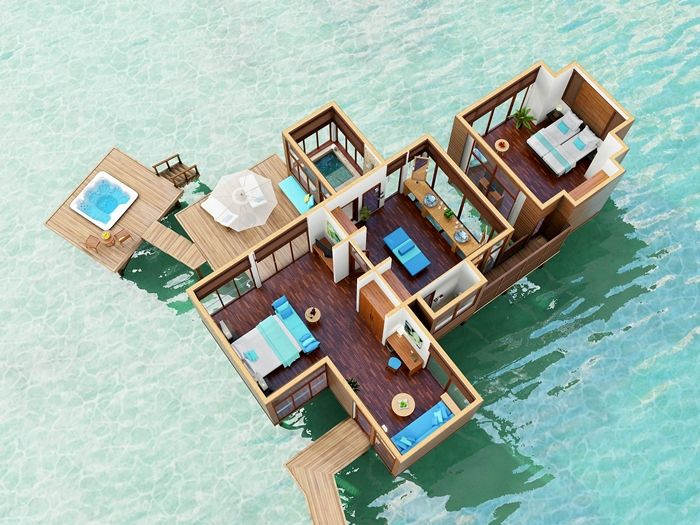 Conrad maldives rangali island hotel family water villa for Hotel conrad maldives rangali island resort