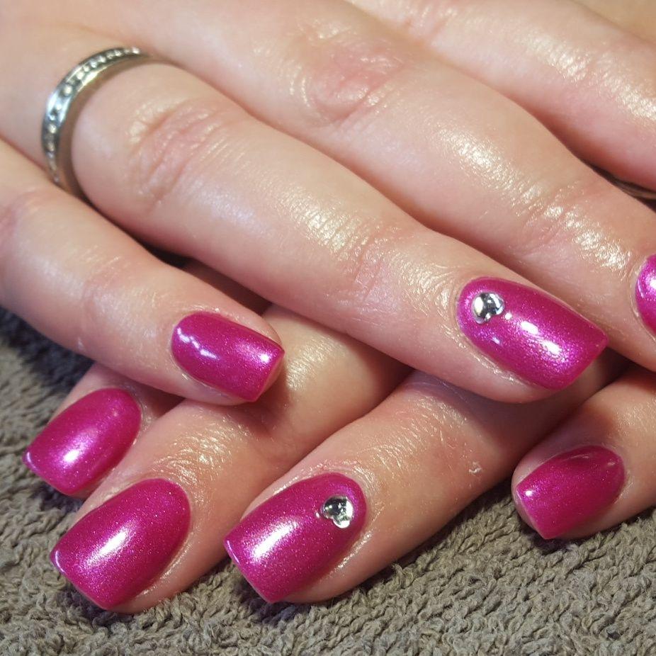 nails, accent nail, gelish, shellac, gellac, nail art, pink, shimmer ...