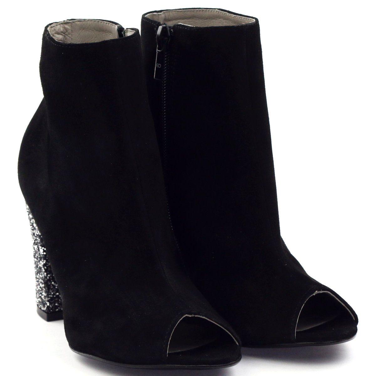 86341ddce22d0 Edeo Botki obcas słupek brokat 2360 czarne   Botki damskie   Boots ...