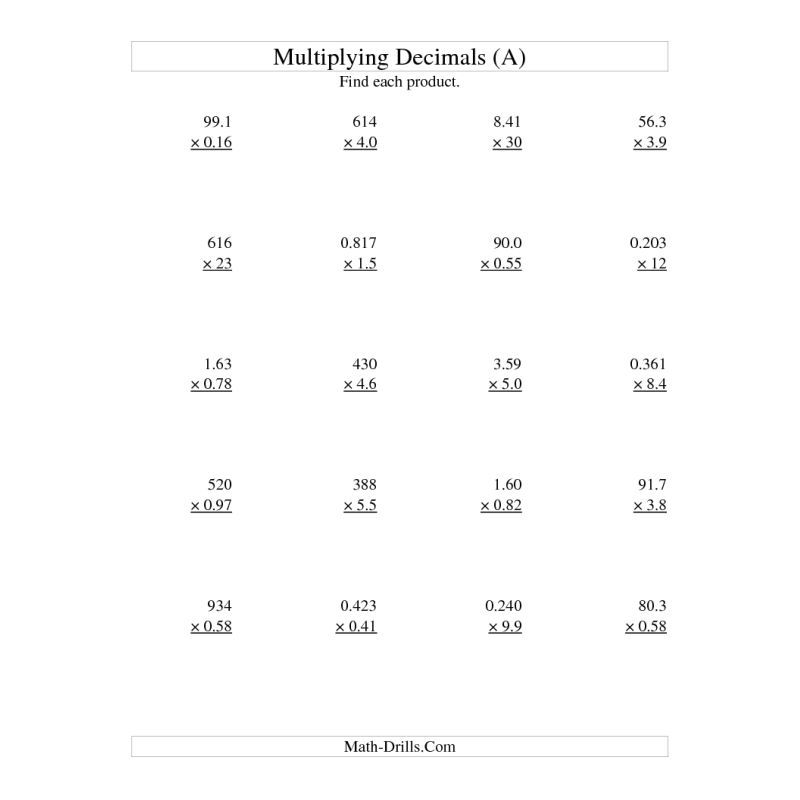 Multiplying Numbers With Decimals  Decimal Multiplication