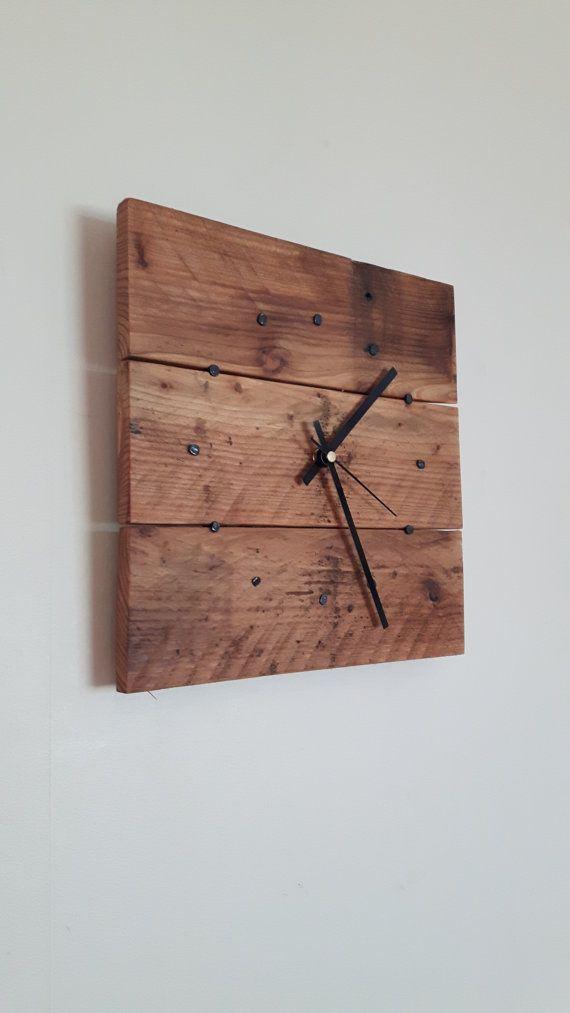 Wall Clock - Wooden Wall Clock - Reclaimed Wood Wall Clock ...