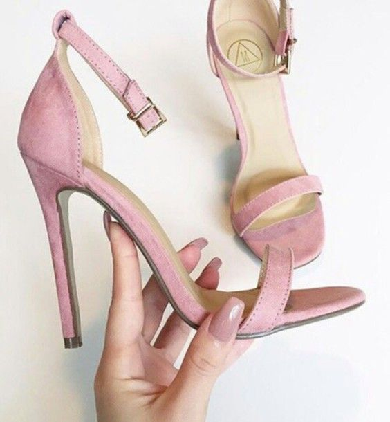 shoes pink heel blush high heel sandals blush pink pink sandals heels suede  purple strappy heels
