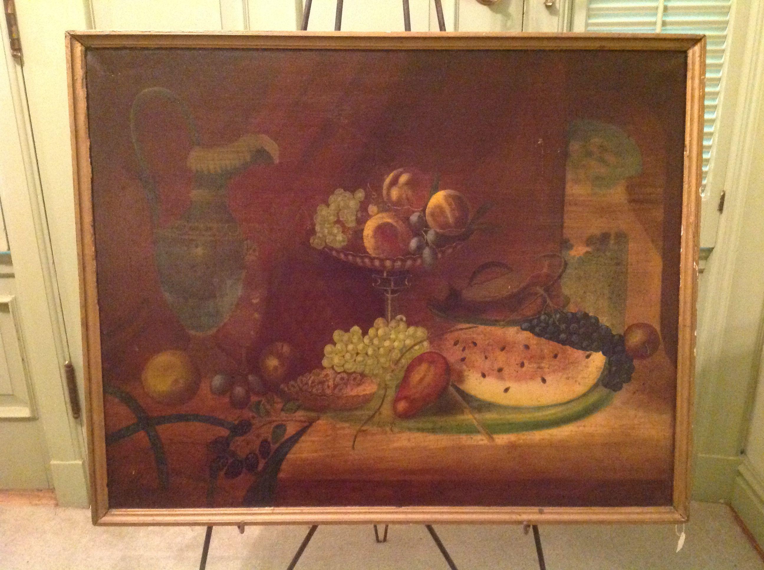 "19th C. American Oil on Canvas  Still Life 25"" x 31"""