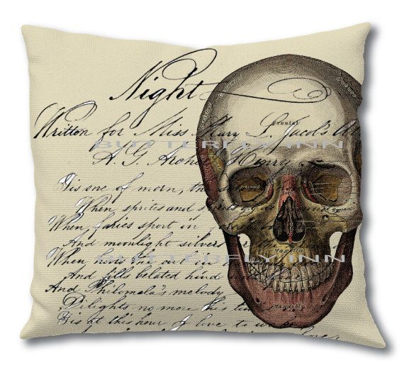 1800's Skull Art Pillow - Double Sided Colored Antique Skull Pillow - Antigue Letter Script Pillow Cover anatomy gifts (35.00 USD) by TheBlackDuckie