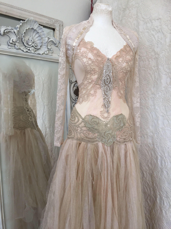 Wedding dress rustic tattered ,bridal gown tattered,pagan wedding ...