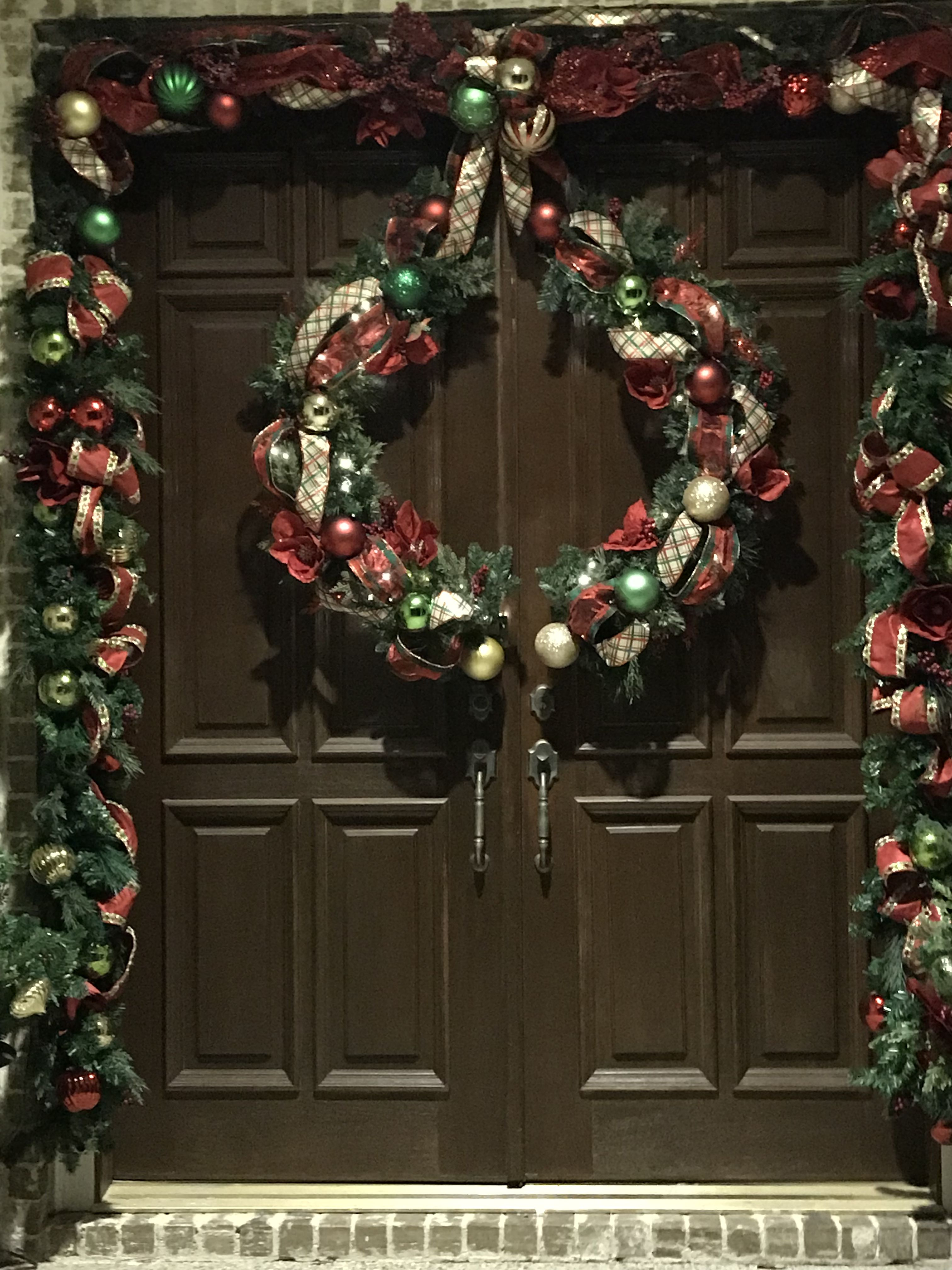 Double Doors Split Wreath Christmas Christmas Wreaths Door Wreaths Diy Double Door Wreaths