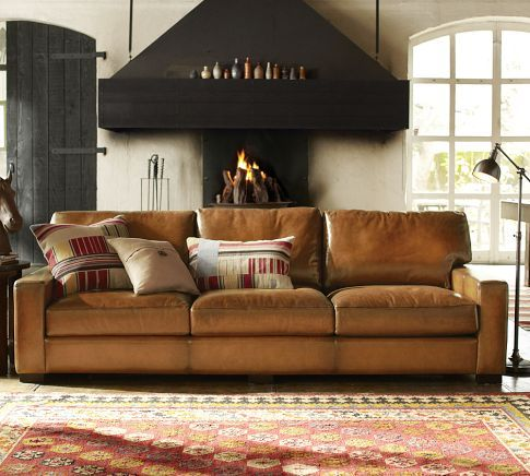 Turner Square Arm Leather Armchair With Images Pottery Barn