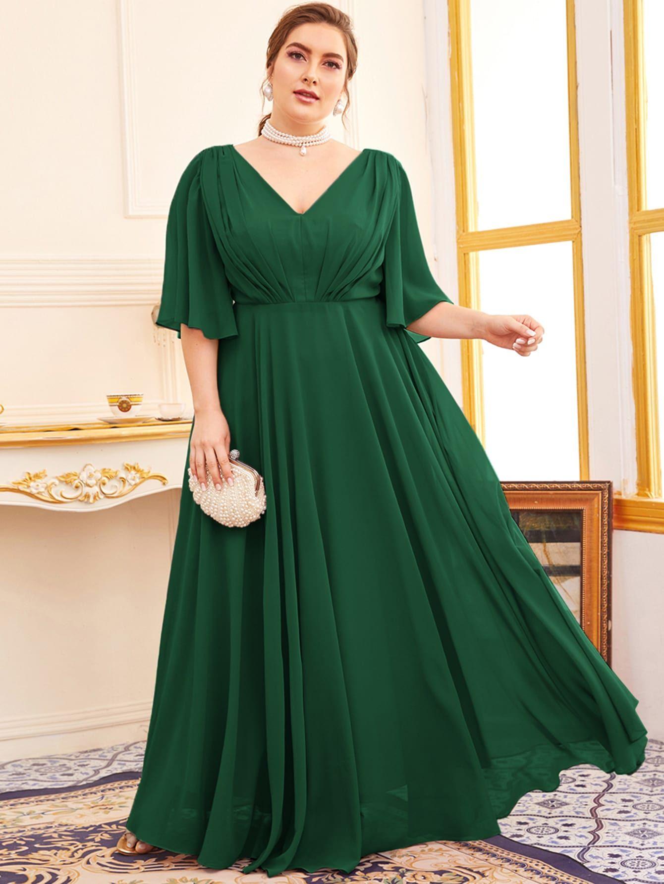 Plus Butterfly Sleeve Double V Neck A Line Dress Shein Usa Dresses Big Size Dress White Dress Party [ 1785 x 1340 Pixel ]