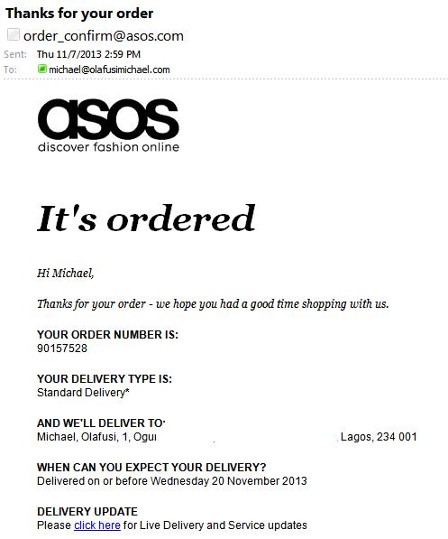 Asos Order Confirmation