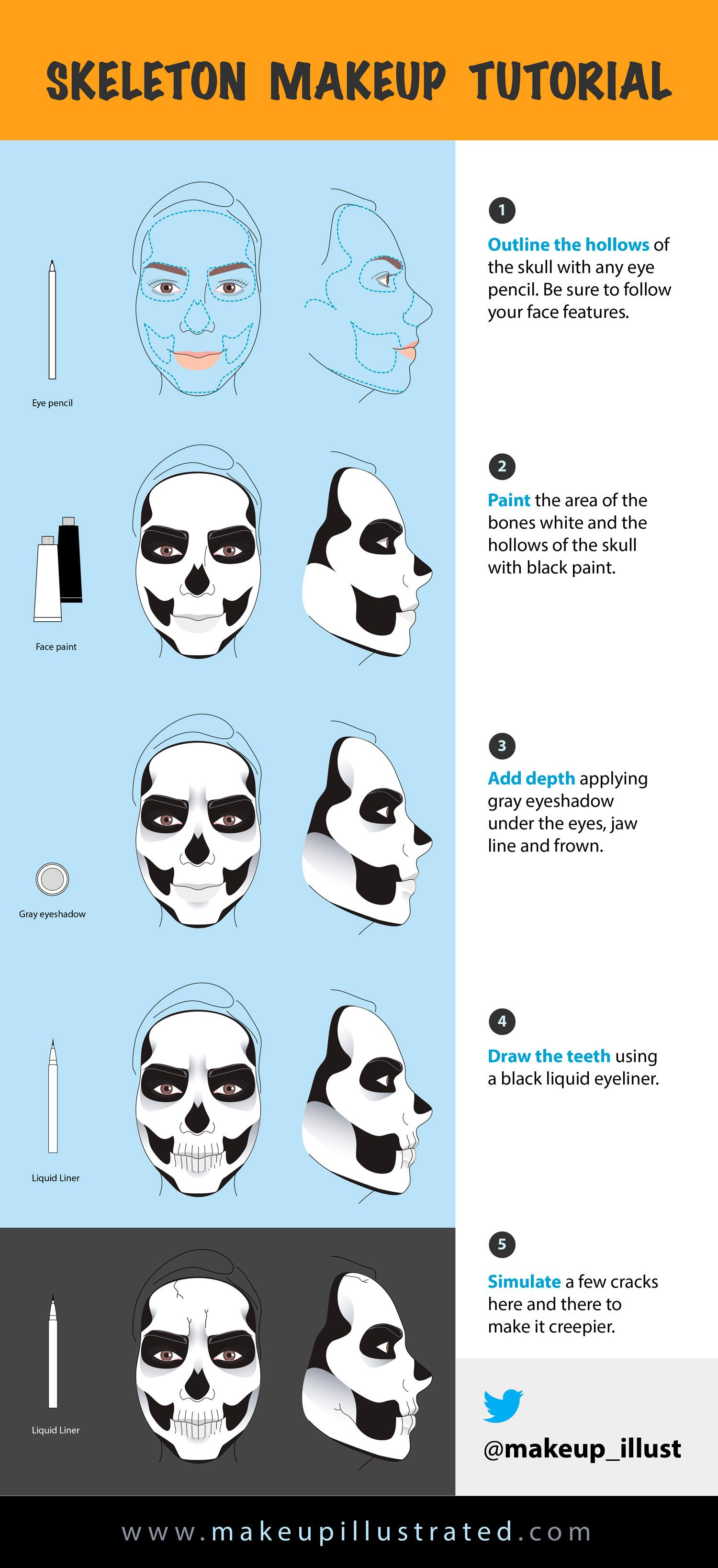 illustrated skeleton makeup tutorial ccw styled247 halloween