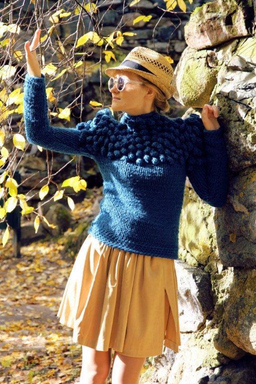 Knitting Wearable Art : Turquoise bobble sweater wearable art womens hand by