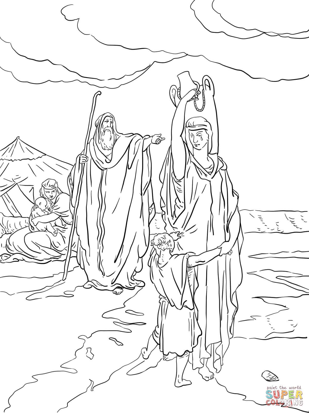 the expulsion of hagar and ishmael coloring page from abraham