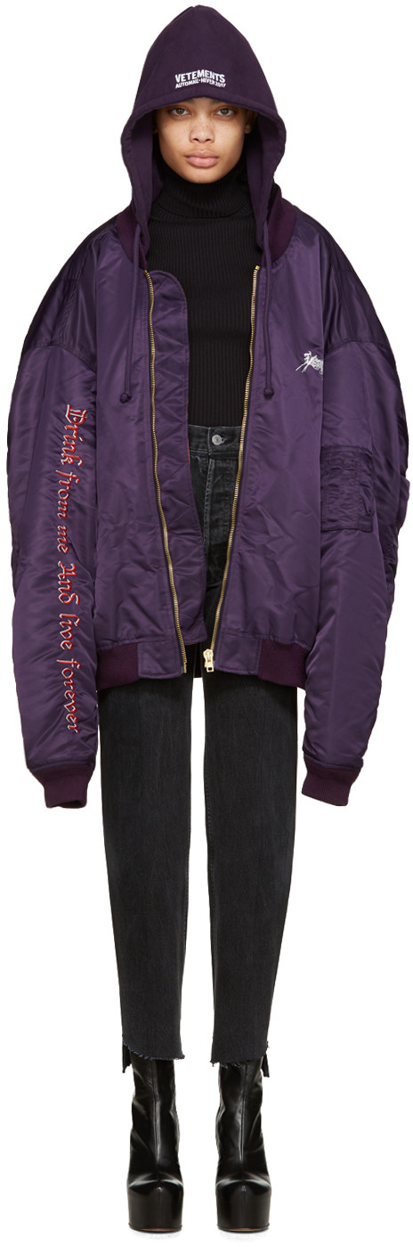Vetements - Purple 'Total Fucking Darkness' Bomber Jacket