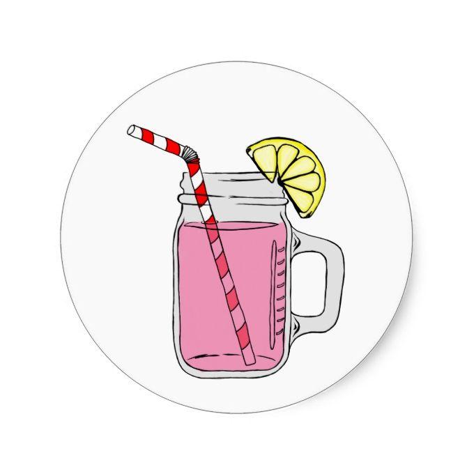 Pink Lemonade Mason Jar Classic Round Sticker Zazzle Com Pink
