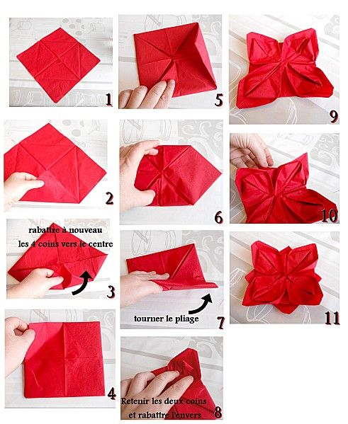 Diy pliage serviette lotus d co de table pliage pour serviette pinterest origami and noel for Pliage serviette de noel facile