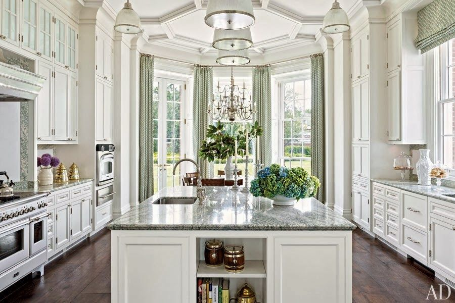 Gorgeous White Kitchen Tremendous Trim And Millwork Large Center Island Alcove Eating Area