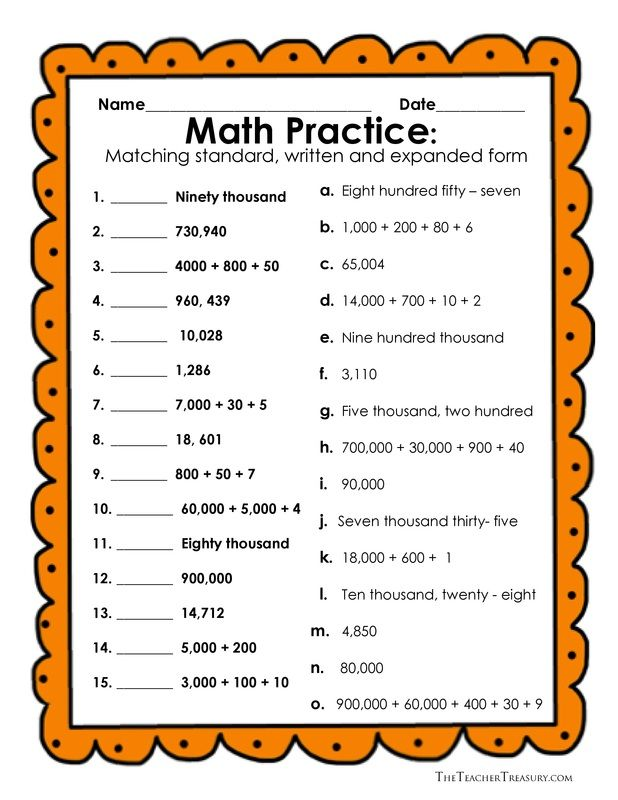 Reading And Writing Numbers In Expanded Form Standard Form And
