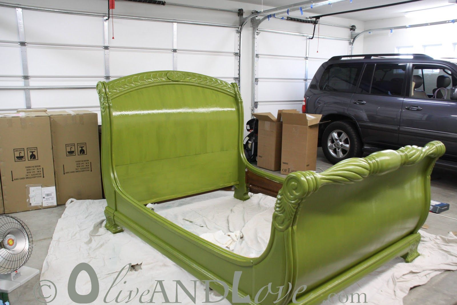 glossy olive green sleigh bed-I want to re-finish the frame of the bed in Liana's Room-I don't think I'll go with this color but it is quite a beautiful bed and the high gloss finish is so pretty!