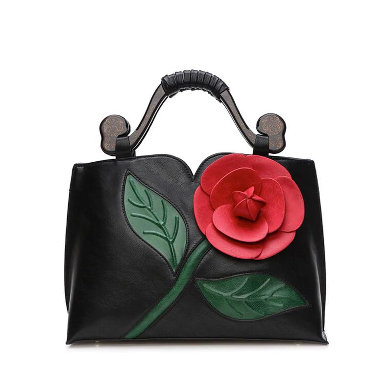 Bolso de mano de cuero PU de diseño femenino Bolso de hombro de flores para mujer