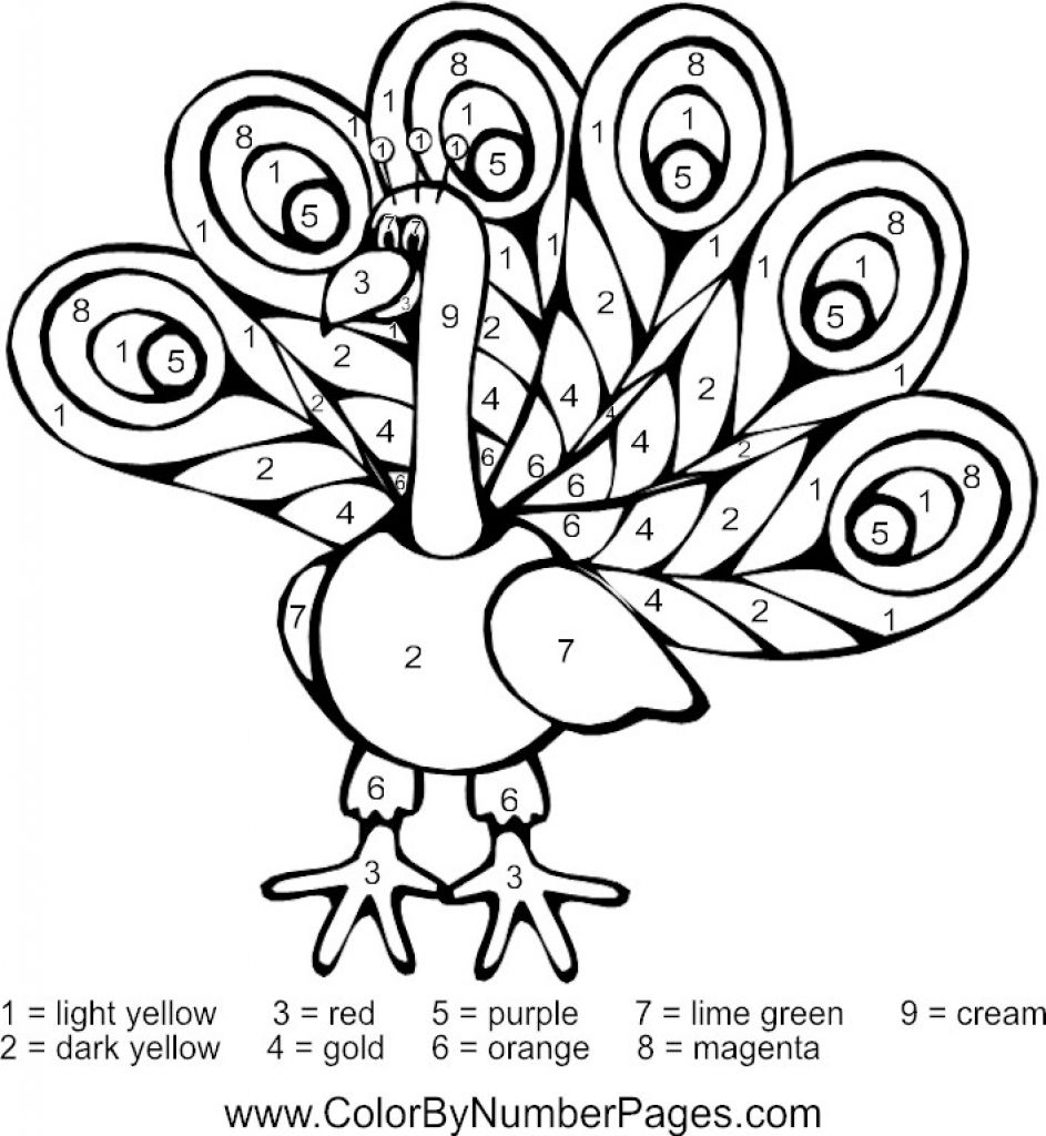peacock animal color by number free to print for kids color by - Print For Kids