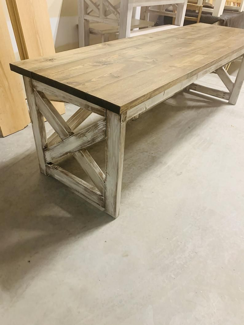 Long rustic farmhouse desk with a dark walnut top and
