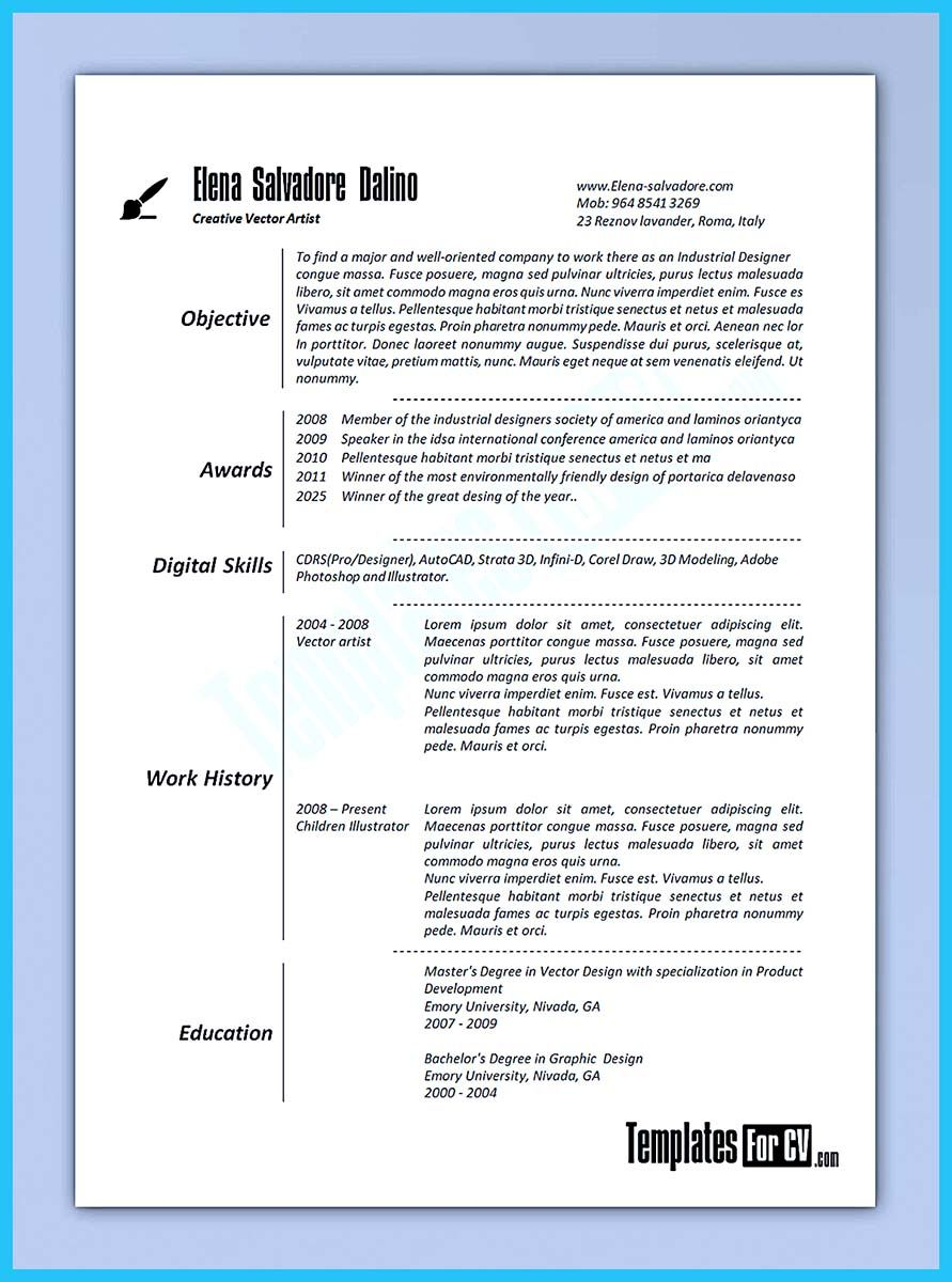 If you are an artist and you need to make a resume, you need to make ...