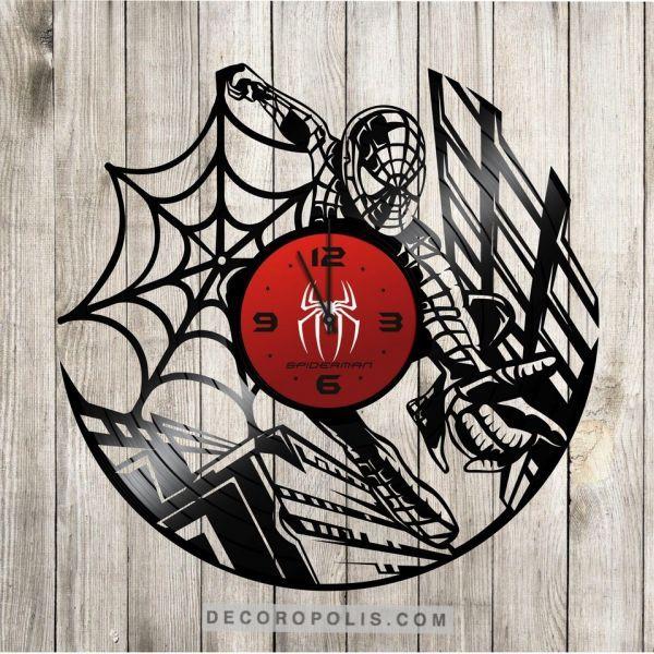 Laser Engraving Clock From Vinyl Record Lp Spiderman Desenhos Vazados Relogios Desenhos