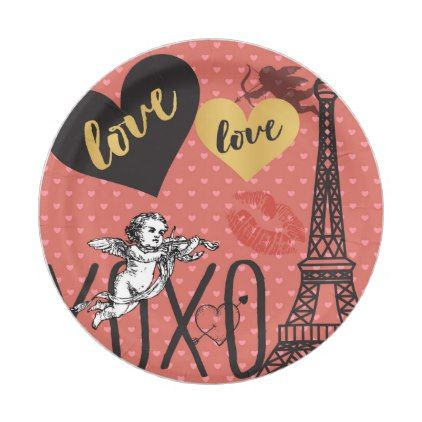 Valentine Cupids Hearts and the Eiffel Tower Paper Plate - valentines day gifts love couple diy  sc 1 st  Pinterest & Valentine Cupids Hearts and the Eiffel Tower Paper Plate ...
