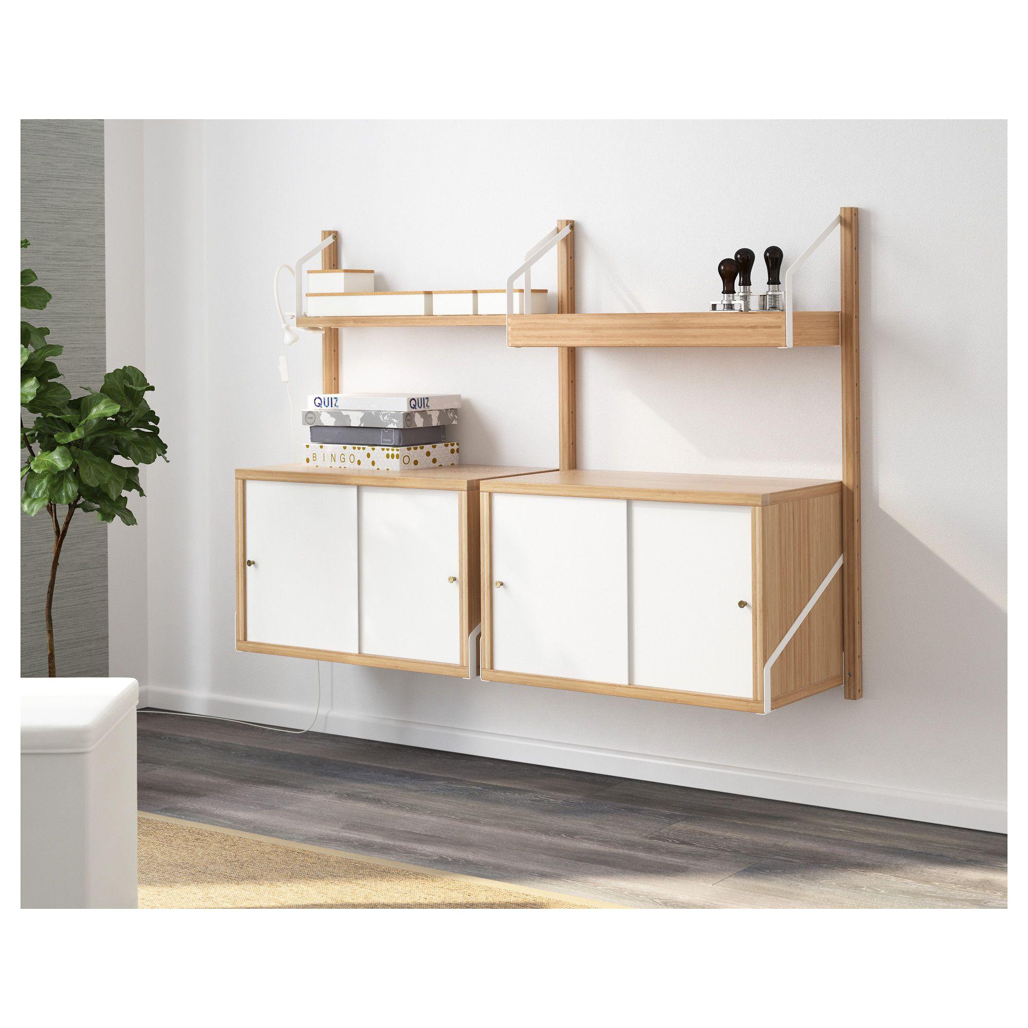 Ikea Svalnas Wall Mounted Storage Combination Bamboo White