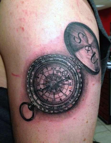 Tatuaże Kompas Zegaryklepsydryczachy Pinterest