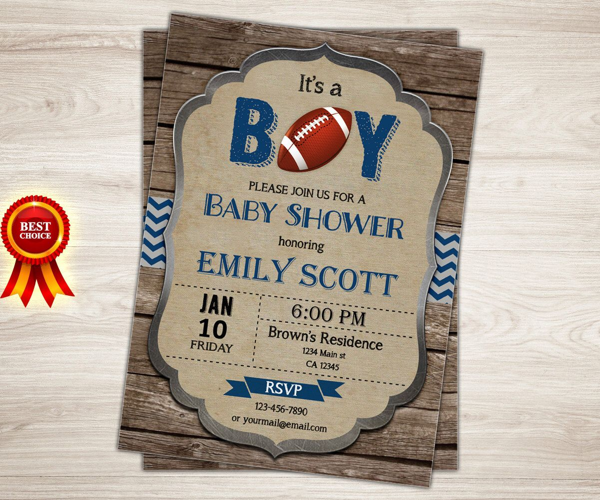 baby shower invitation for twins%0A Rustic Football baby shower invitation  It u    s a boy  Blue Chevron Rugby  sports theme rustic