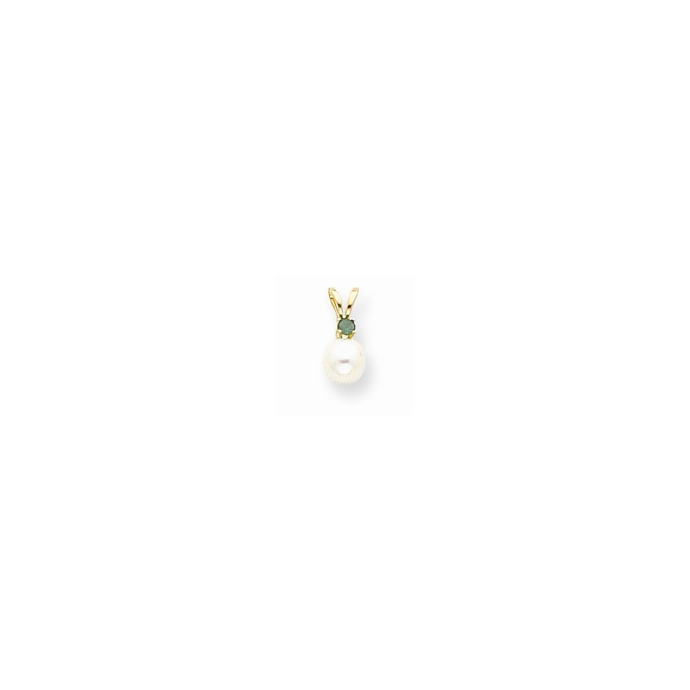 14k Yellow Gold Diamond 5mm White Cultured Pearl & Emerald Pendant