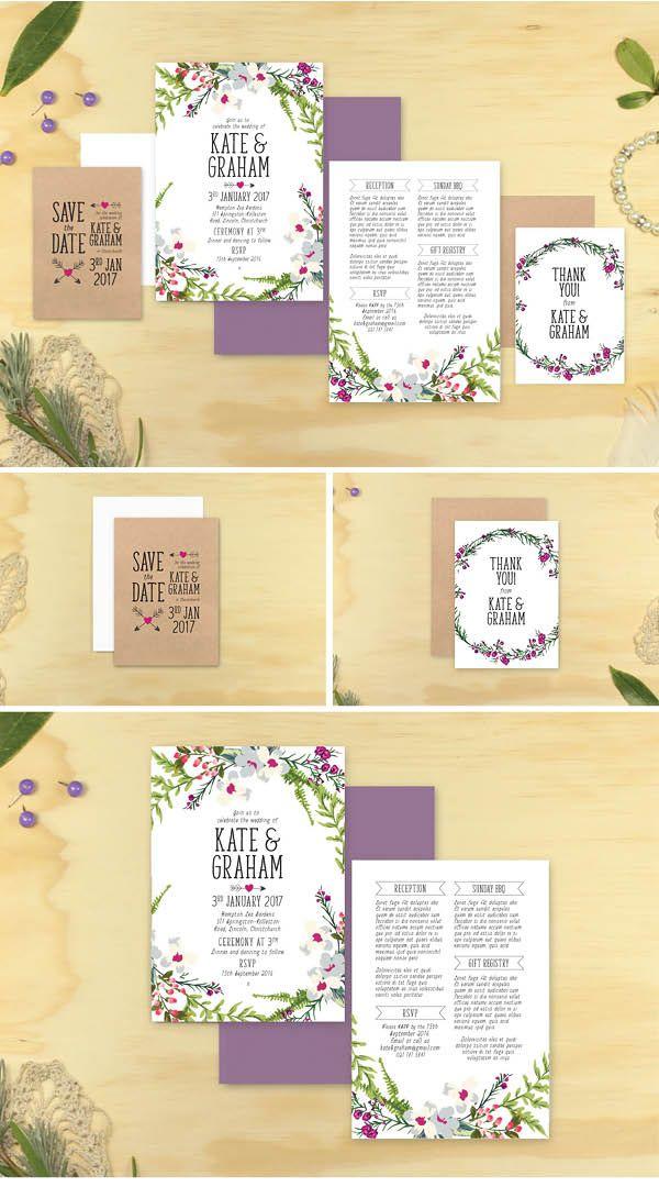 Sweetheart Wedding Invitation Set - Marie Ockleford Designs - floral flowers cute wreath white pretty kraft invites