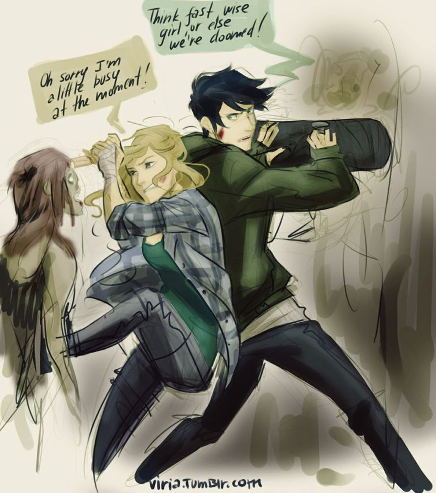 Fighting with a skateboard? Really percy?>>> Percy's DA MAN