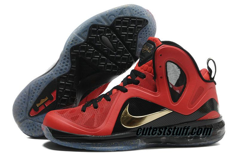 Nike Basketball Lebron 9 Shoes PS Elite Finals Away PE Red Black Gold  516958 101.