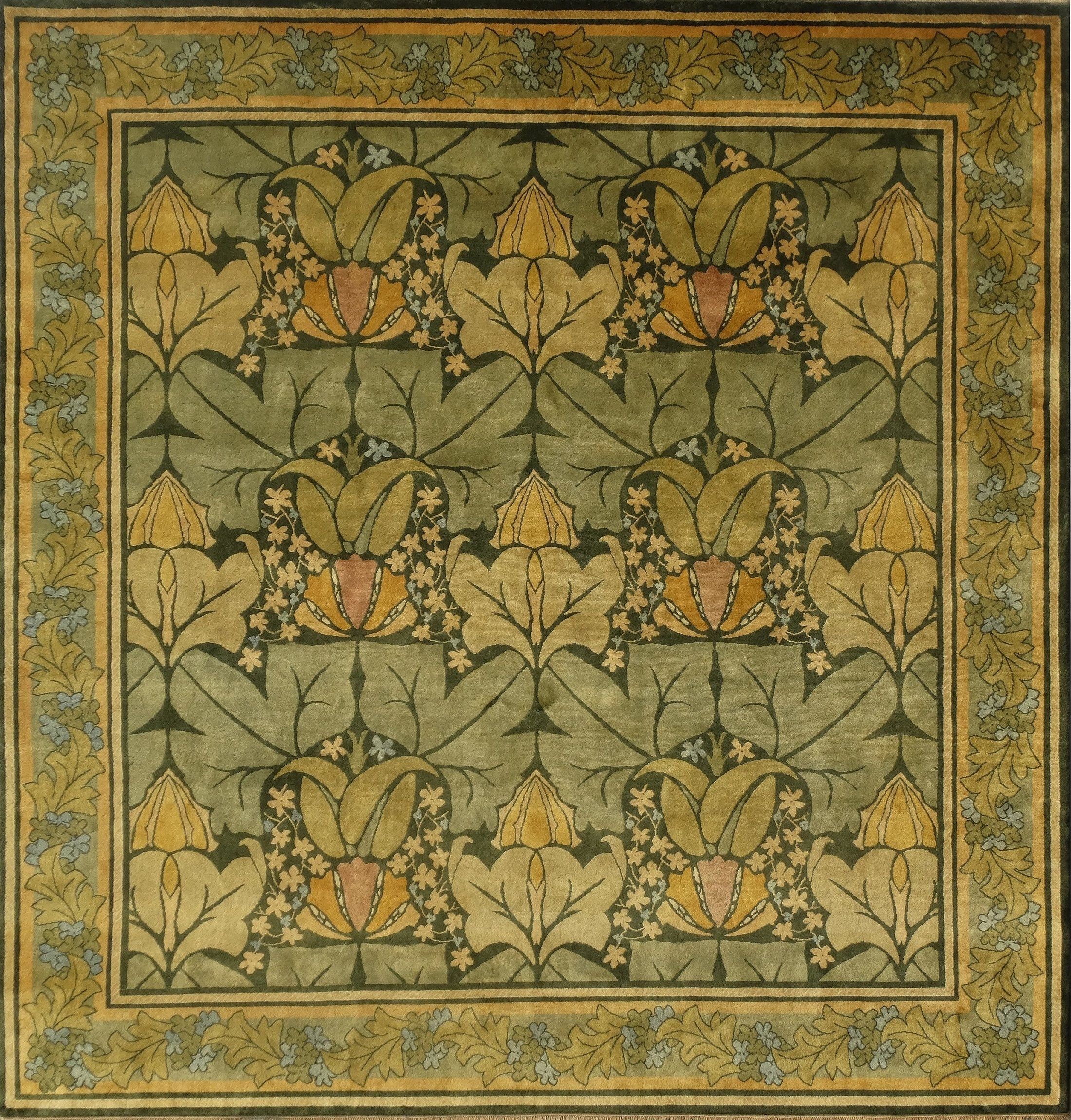Custom Arts Crafts Rug The Wykehamist By C F A Voysey Done In Square Shape 13 X For Client S Dining Room All Guildcraft Carpets Are