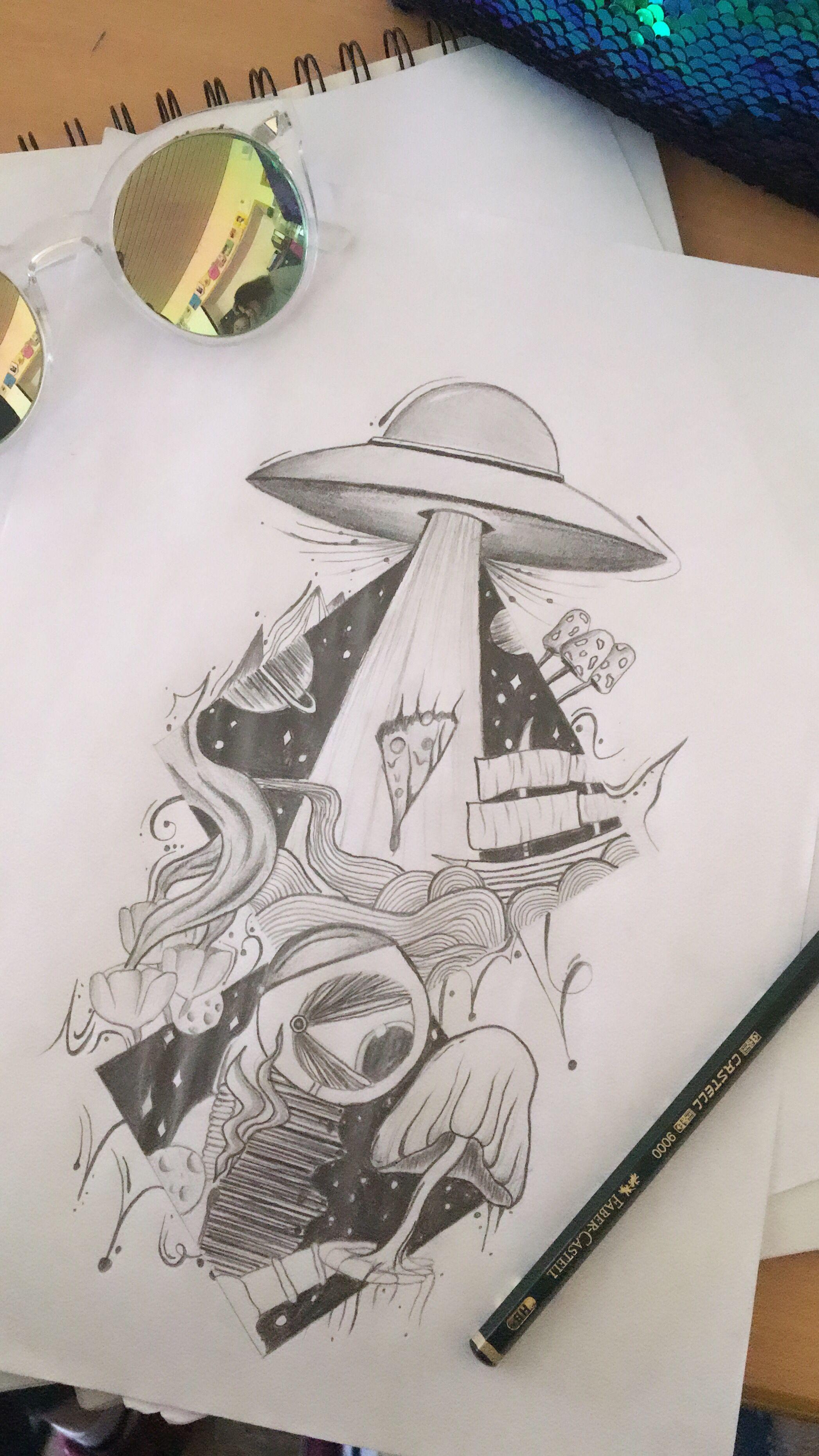 Skizze drawings ufo ufotattoo tattoo pizza draw cool art in