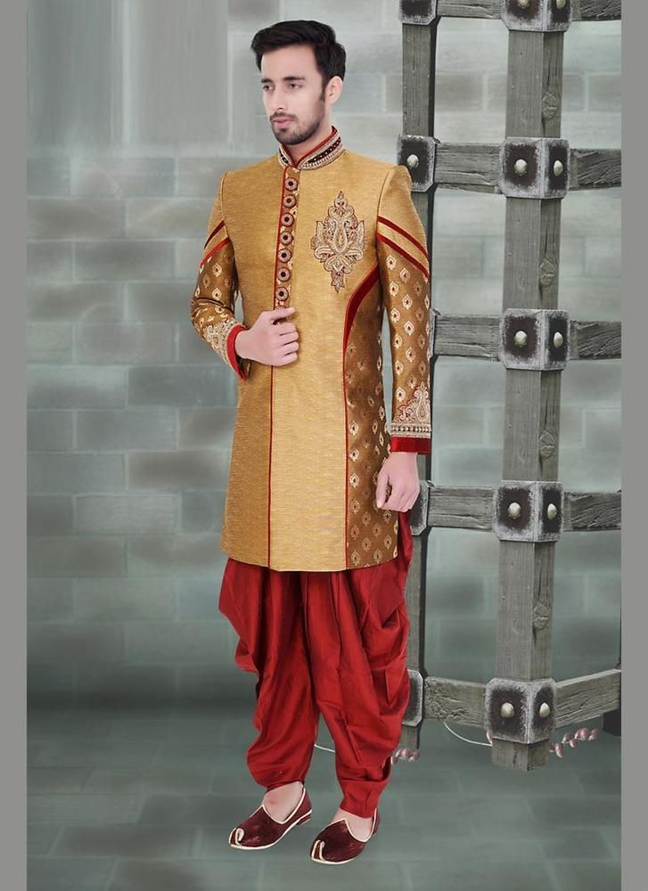 Tempting Rich Look Gold Jacquard Silk Dhoti Style Sherwani In Wedding And Party Wear Bottom With Maroon Art Doti