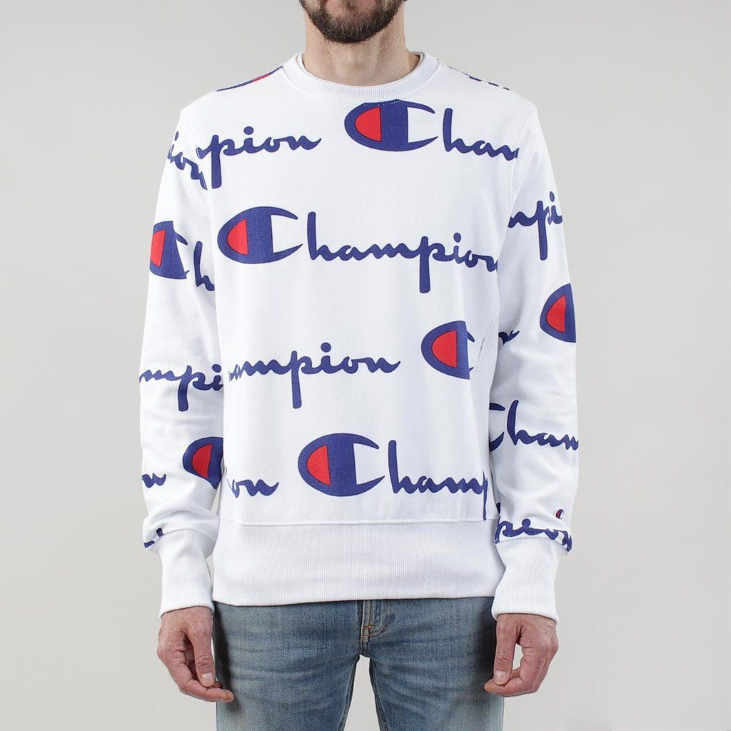 b84e0b0e7 Champion Reverse Weave All Over Logo Crewneck Sweatshirt | My Style ...