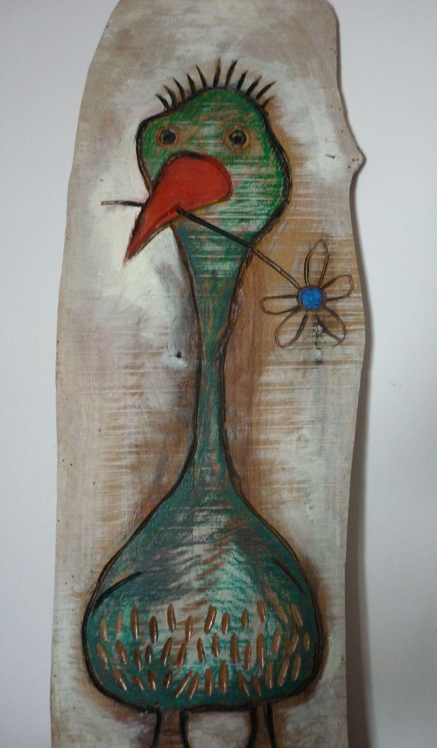 Uccello innamorato.Legno inciso e dipinto (da regalare alla morosa)