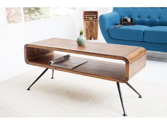 Table Basse Design Retro En Bois Massif Sheesham Alto 100 Cm Table Basse Design Table Basse Table Bureau