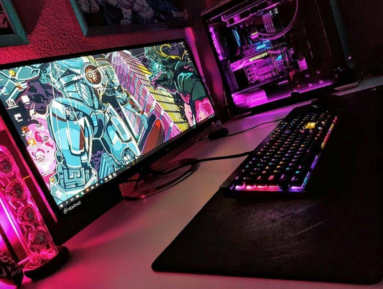 Colorfull Gaming Computer Desk Computer Desk Setup